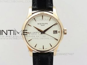 Calatrava 5227 BP Version RG white Dial on Black Leather Strap Japanese MIYOTA 9015 PP324CS