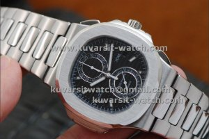 PATEK PHILIPPE NAUTILUS CHRONOGRAPH TRAVEL TIME 5990A BLACK..Q.C