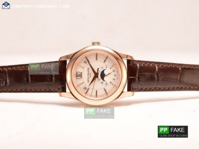 5207R/700P-002 - PATEK PHILIPPE GRAND COMPLICATIONS WHITE DIAL RG BROWN LEATHER STRAP JAPANESE MIYOTA 9015 AUTO