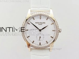 PP@6 RG Diamond Bezel Best Edition White Dial on White Leather Strap