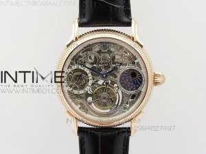 Grand Complications AXF RG White Skeleton Dial moonphase on Black Leather Strap