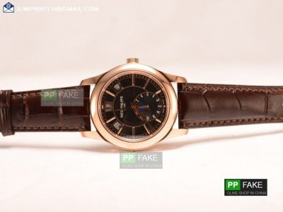 5207R/700P-001 - PATEK PHILIPPE GRAND COMPLICATIONS BLACK DIAL RG BROWN LEATHER STRAP JAPANESE MIYOTA 9015 AUTO