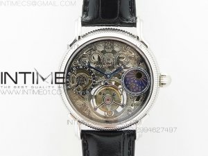 Grand Complications AXF SS Black Skeleton Dial moonphase on Black Leather Strap