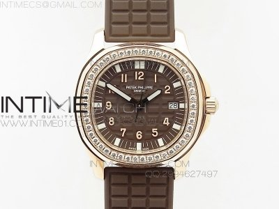 Aquanaut Jumbo RG 1:1 Best Edition Brown Dial on White Brown Strap Ronda Quartz