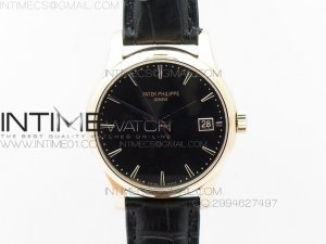 Calatrava 5227 BP Version RG Black Dial on Black Leather Strap Japanese MIYOTA 9015 PP324CS