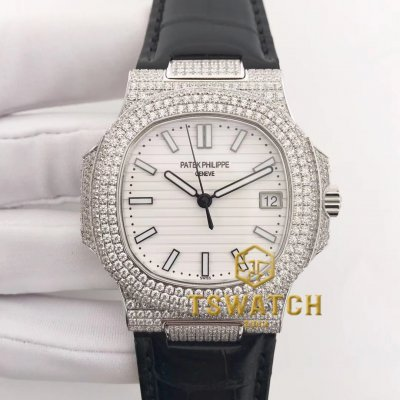 PP22898 - Nautilus Jumbo 5711 40mm Full Diamond SS Croco A324